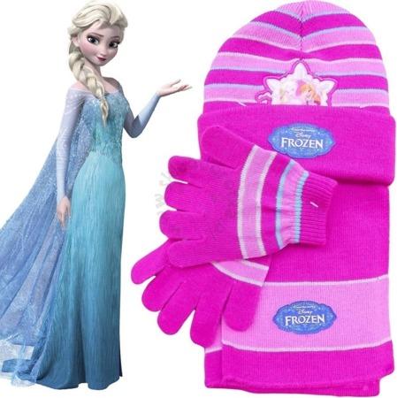 Komplet dla dzieci - czapka, szalik i rękawiczki Frozen - Kraina Lodu