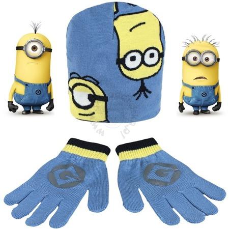Komplet dziecięcy- czapka i rękawiczki z postaciami z bajki Minionki